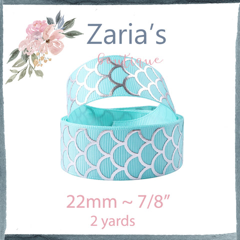 "2 yards ~ Silver Foil Aqua Mermaid Scale Grosgrain Ribbon ~  7/8"" ~ 22mm"