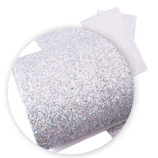 Silver ~ FINE Glitter Faux Leather Fabric Sheets