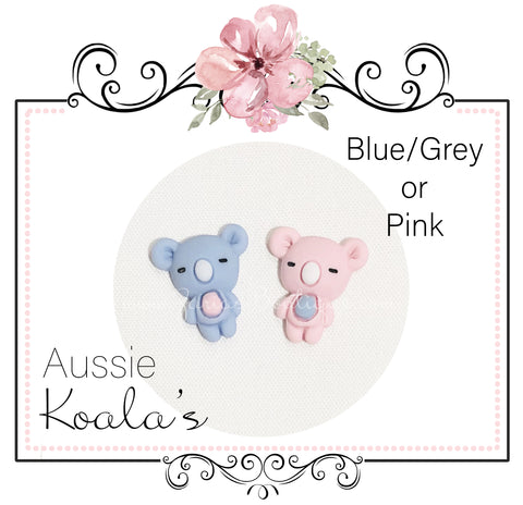 Koala Embellishments ~ Aussie Native Koala ~ Pink or Grey/Blue