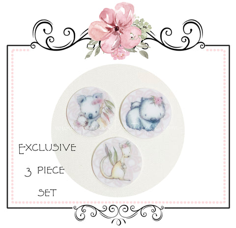 EXCLUSIVE Australiana 3 Piece Set Resin Embellishments ~ Aussie Natives Koala Kangaroo Wombat