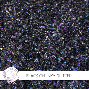 Chunky Glitter Black Sparkle ~ 1.11mm