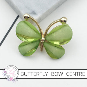 Butterfly Bow Centre ~ Flat Back Embellishment ~ Light Green