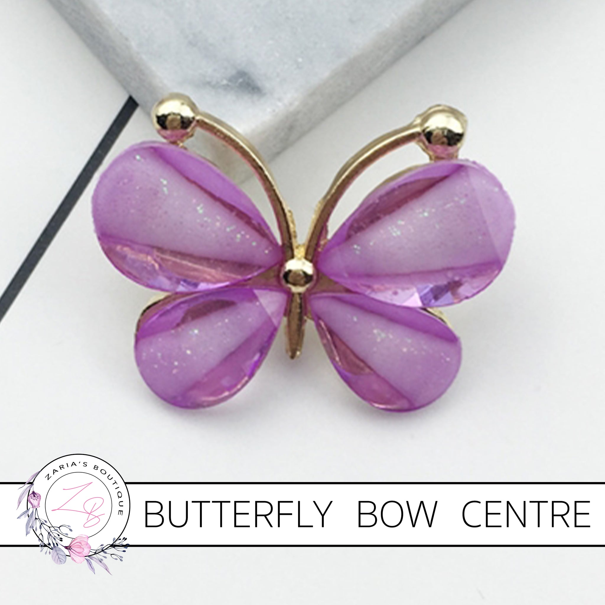 Butterfly Bow Centre ~ Flat Back Embellishment ~ Light Purple