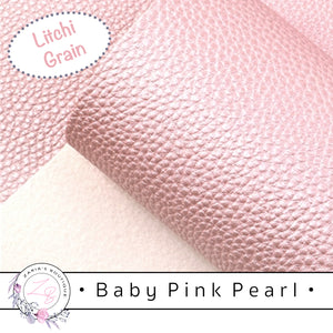 Baby Pink Pearl Faux Leather • Vegan Pebble Grain