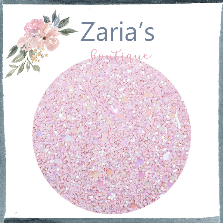 Baby Pink ~ Chunky Glitter Faux Leather Fabric Sheets