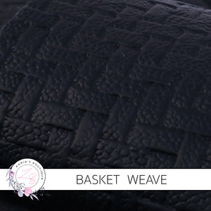 Basket Weave Textured Faux Leather Leatherette ~ Black ~ 0.84mm