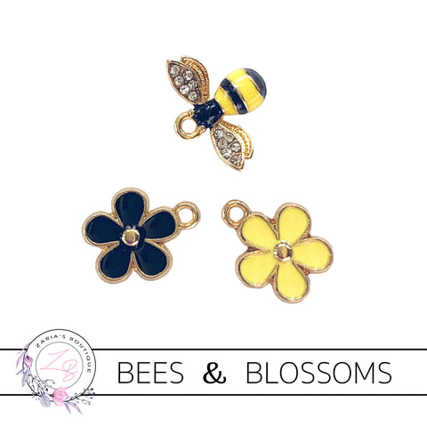 Bees & Blossom Charms  ~ Quality Enamel/Metal Embellishments ~ 3 Designs