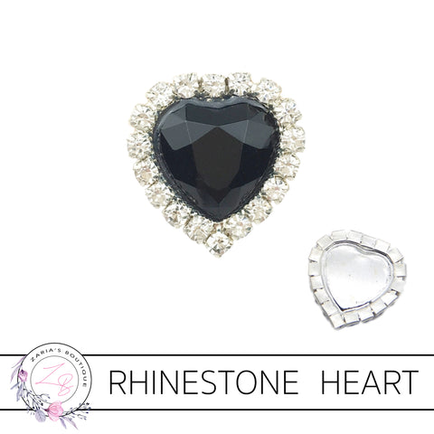 Rhinestone Heart Flat Back Embellishment • Black