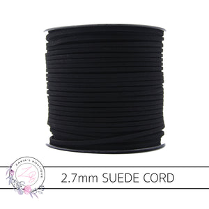 Faux Suede Cord ~ 2.7mm ~ Black ~ 5 Metres