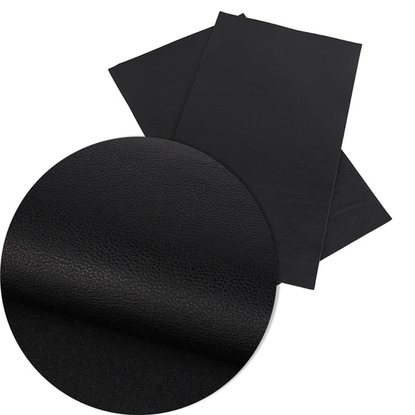 Black Pebble Grain Litchi Faux Leather Craft Fabric Sheets ~ 0.96mm