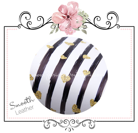 Black & White Stripe Valentine Gold Hearts ~ Smooth Floral Faux Leather Craft Fabric Leatherette