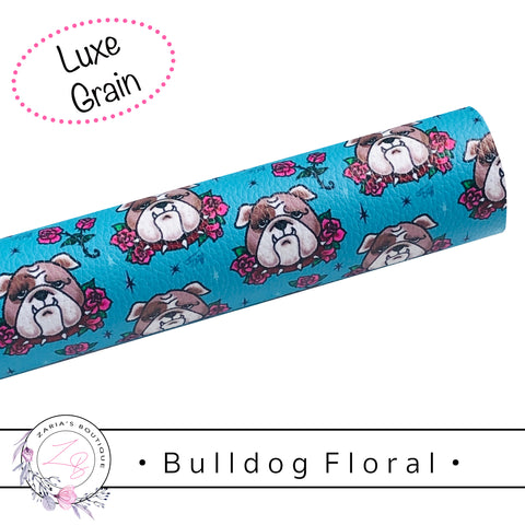 • Floral Bulldog • Vegan Luxe Grain Faux Leather Dog Print
