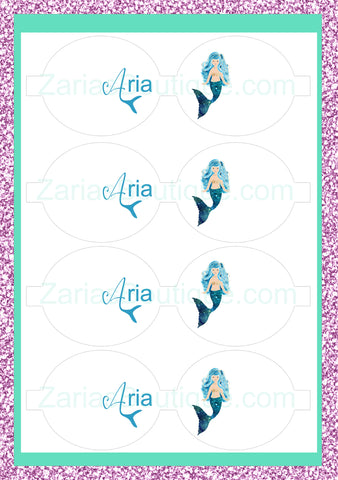 Mermaid Name Bows ~ Custom Printed Canvas Sheets ~ Blue ~ Bow Making