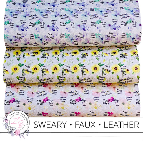 Exclusive Sweary F Bomb Floral Vegan Faux Leather ~ Single Sheets ~ 3 Colours!