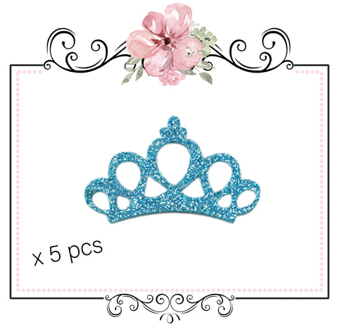 Princess Tiara Crown Glitter Embellishment ~ Blue x 5
