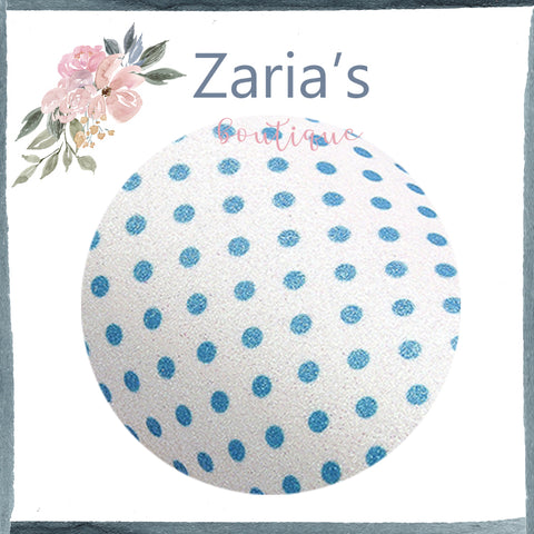 Spotty ~ FINE GLITTER ~ Blue White Polka Dot Faux Bow Fabric