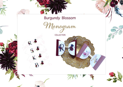 Burgundy Monogram Bow ~ A to Z & Numbers 1 to 10 ~ Printed Canvas Sheets ~ Bow Making ~ Initials ~ Ready To Cut