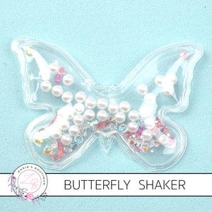 Star & Pearl-Filled Butterfly Shakers ~ White Pastels ~ 7 x 4.5cm