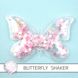 Star & Jewel-Filled Butterfly Shakers ~ Pink ~ 7 x 4.5cm