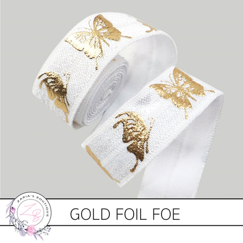 FOE • Gold Foil Embossed Butterflies • White • Headband Elastic • Fold Over Elastic