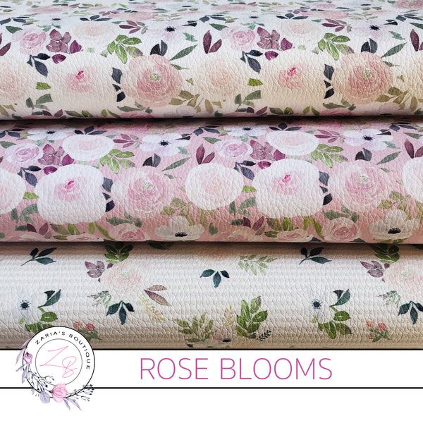 Custom Rose Blooms Neutrals Floral Vegan Faux Leather Designer Multi-Pack & Single Sheets