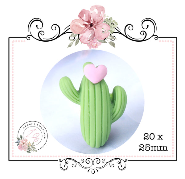 Cactus Hearts ~ Pink Green White Luxe Grain Faux Leather
