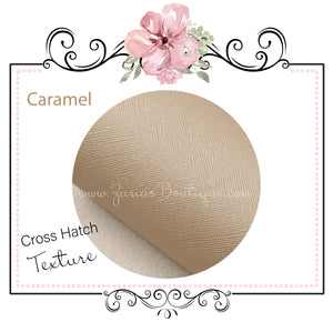 Caramel ~ Cross Hatch Textured Faux Leather