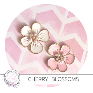 Cherry Blossom Embellishments ~ High Quality Metal Flat Back ~ Pink or White x 2 Pieces