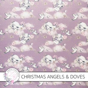 Christmas Lavender Angels & Doves Vegan Faux Leather