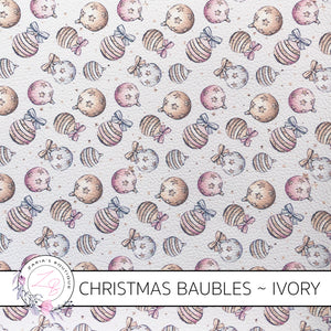 Christmas Baubles Vegan Faux Leather ~ Ivory