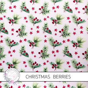 Christmas Berries & Stars Faux Leather