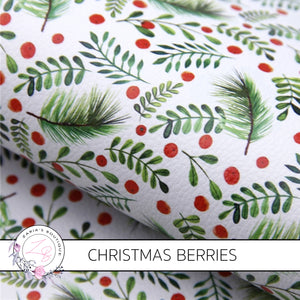 Christmas Berries Luxe Grain Faux Leather ~ 1mm