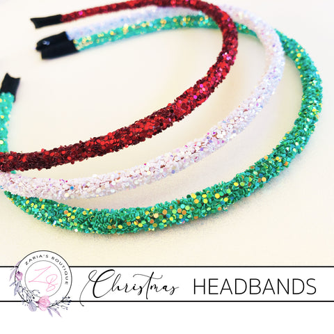 Christmas Glitter Headbands ~ Red, White and Green