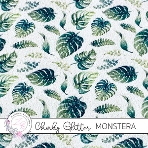 Monstera Leaf ~  Chunky Patterned Glitter