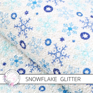 Blue White Chunky Glitter Snowflake Craft Sheets