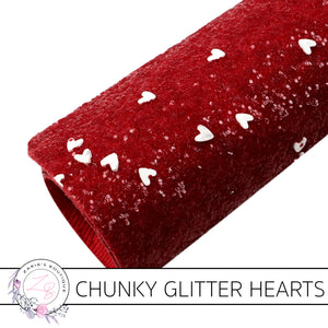 Chunky Glitter • Red • White Sprinkle Hearts