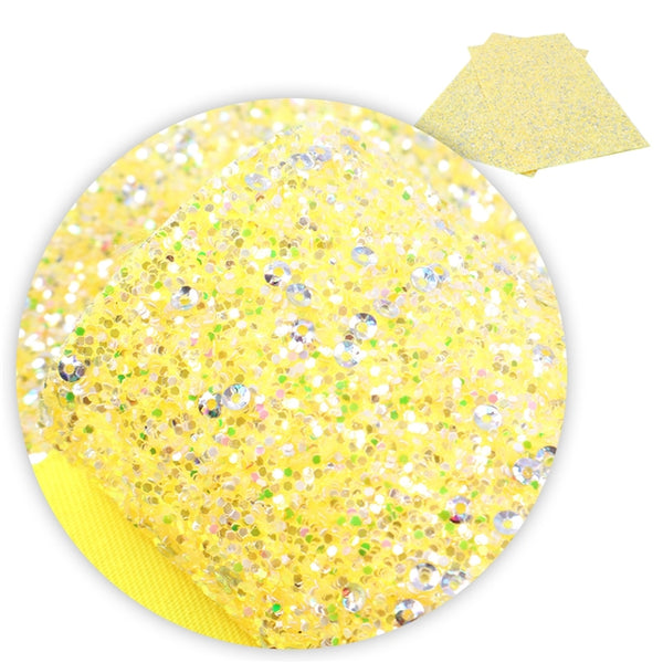 Wiggle Yellow ~ Chunky Glitter Faux Leather Fabric Sheets