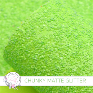 Bright Lime Green ~ Matte Chunky Glitter ~ 1.5mm