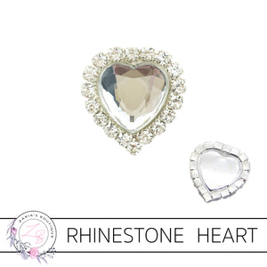 Rhinestone Heart Flat Back Embellishment • Crystal Clear