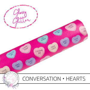 Conversation Hearts • Glossy Glitter Vegan Faux Leather