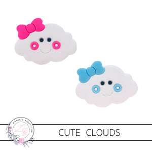 Cute Clouds  ~ Flatback Bow Embellishments ~ Pink or Blue ~ 2 pieces