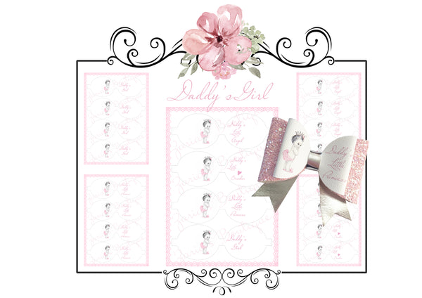Daddy's Girl Bows ~ Custom Printed Canvas Sheets ~ Daddy's Girl, Princess, Angel