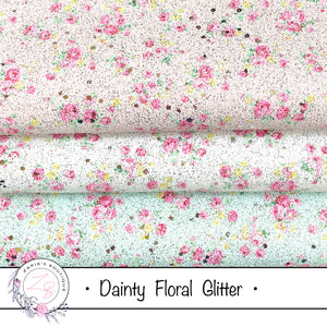 Dainty Floral Glitter ~  3 Colours ~ Pink ~ White ~ Green