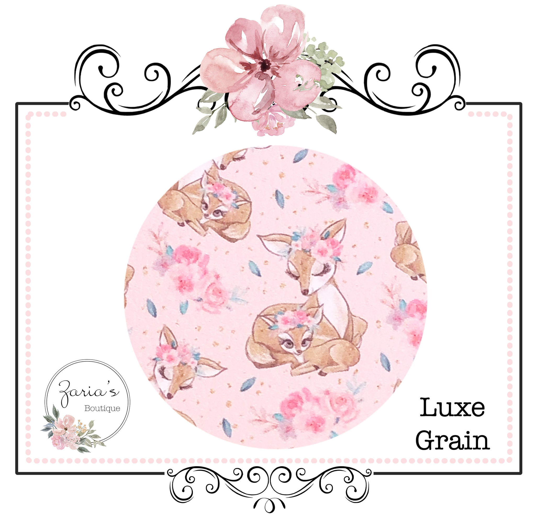 Pink Mummy & Me Sweet Deer Fawn ~ Custom Luxe Grain Faux Leather ~ 0.90mm