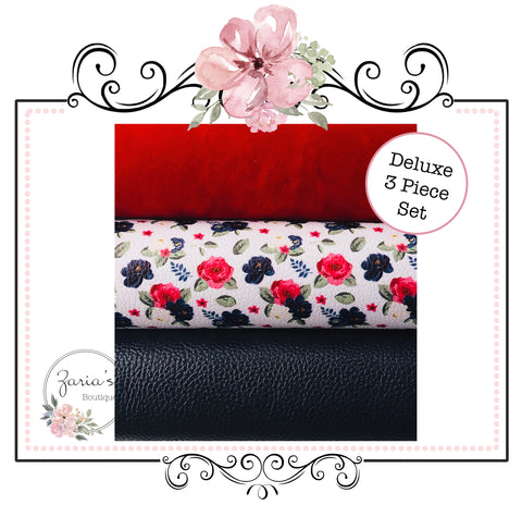 Deluxe 3 Piece Set ~ Winter Floral  ~ Custom Luxe Grain Faux Leather