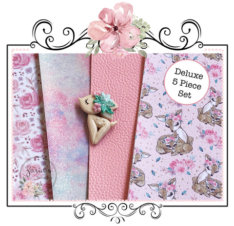 Deluxe 5 Piece Set ~ Pink Mummy & Me Sweet Fawn Floral ~ Custom Luxe Grain Faux Leather ~ 0.90mm