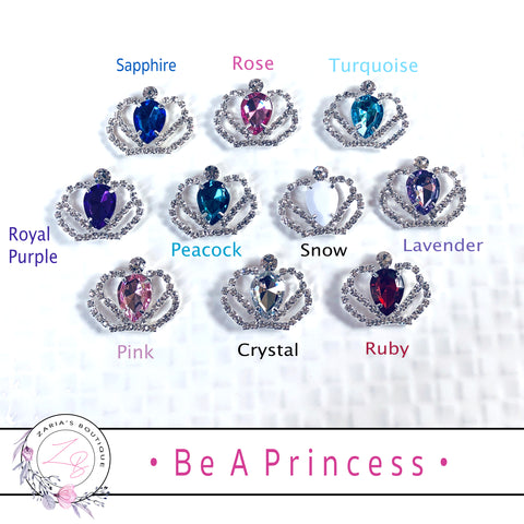 ⋅ Be A Princess ⋅ Crystal Tiara Crown Metal Flatback Embellishment
