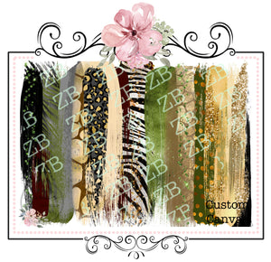 Brush Strokes with Glitter Finish ~ Custom Printed Canvas Sheets ~ Greens