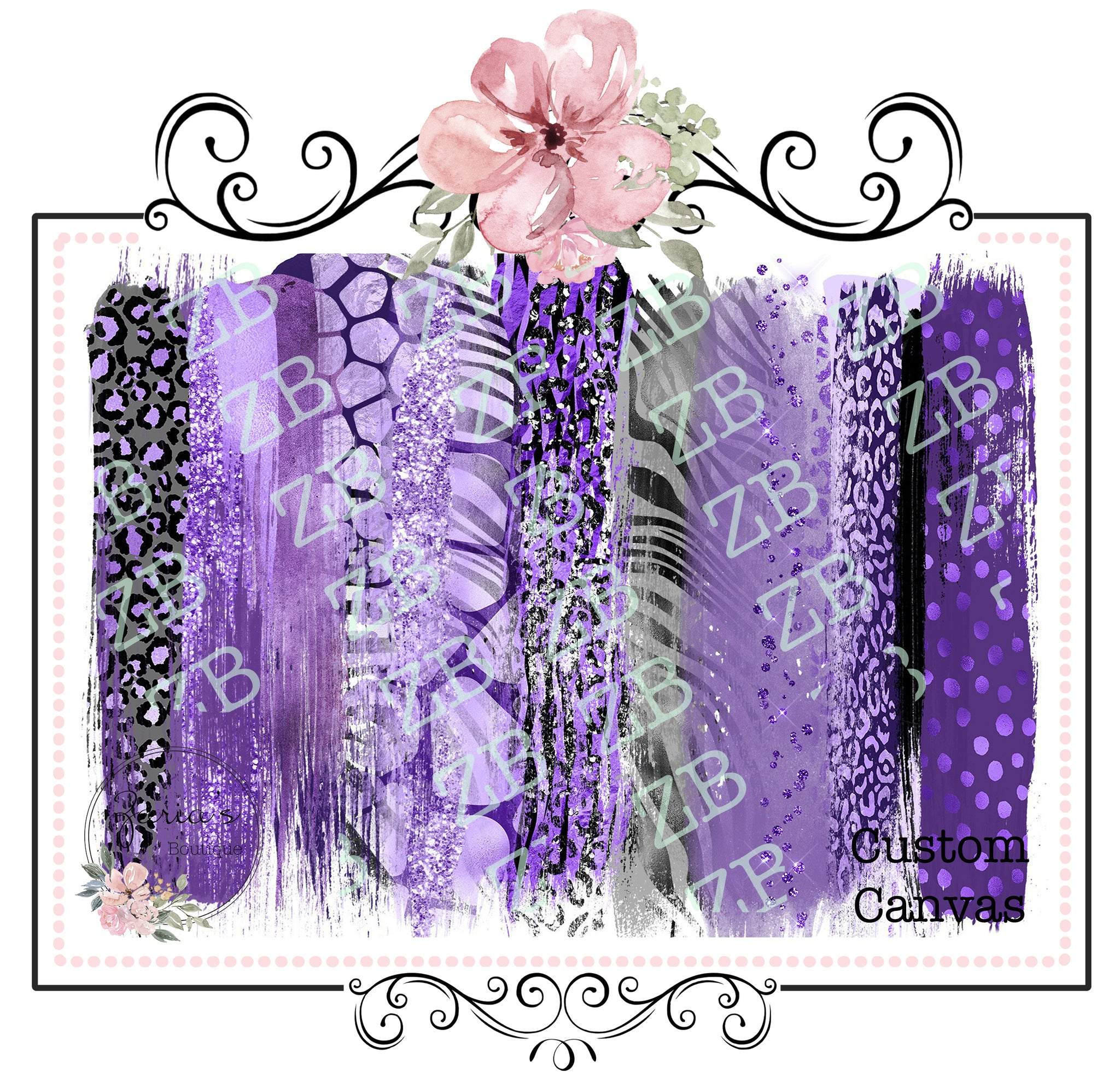 Brush Strokes with Glitter Finish ~ Custom Printed Canvas Sheets ~ Purples