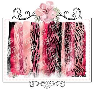 Brush Strokes with Glitter Finish ~ Custom Printed Canvas Sheets ~ Reds